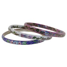Vintage Set of Three Cloisonne Bangle Bracelets