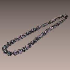 Vintage Black and Pink Cloisonné Bead Necklace