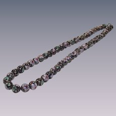 Vintage Black and Pink Cloisonné Bead Necklace