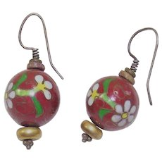 Vintage Cloisonné Bead Earrings