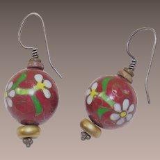 Vintage Cloisonné Bead Earrings