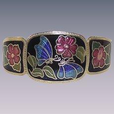 Vintage Cloisonné Clapper Style Bracelet with Butterflies
