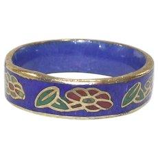 Vintage Cloisonne Cobalt Blue Ring