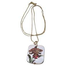 Vintage Cloisonne White and Orchid Floral Pendant