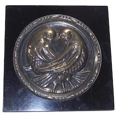 Art Deco Crystal and Black Lucite Sterling Doves Powder Compact