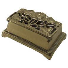 Vintage Brass Stamp Box with Sunflowers