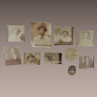 Ten Piece Tiny Photos for a Locket Early Black and White