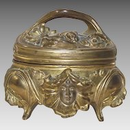 Art Nouveau Metal Footed Jewelry Casket