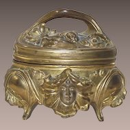 Art Nouveau Metal Footed Jewelry Casket