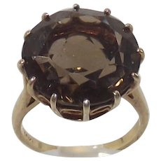 Vintage Large Round Smokey Quartz Ring