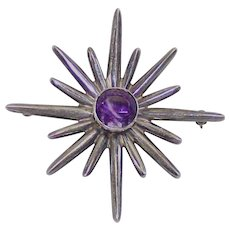 Vintage Mexican Sterling and Amethyst Sun Brooch