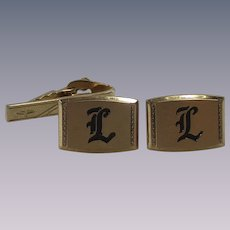 Vintage Hickok Men's Cuff links Engraved L