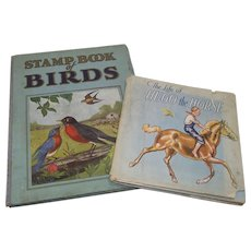 Collection of Two Children's Books 1930s Horses and Birds
