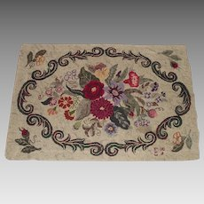Dated 1948 Lovely Floral Hooked Rug Maker Signed