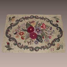 Dated 1948 Lovely Floral Hooked Rug Maker Signed