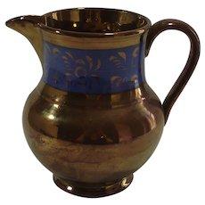 Vintage Copper Luster Pitcher Cobalt Band Decoration