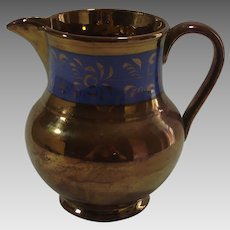 Vintage Copper Luster Pitcher Cobalt Band Decoration