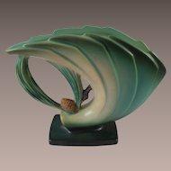 RARE Roseville Pottery 1930s Art Deco Green Pinecone Fan Vase 472-6
