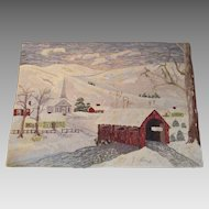 Hand Hooked Vermont Rug titled Village Meeting House 1940s