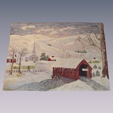 Hand Hooked Rug titled Village Meeting House 1940s