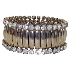 Fabulous Mid Century Signed Rhinestone Expansion Stretch Bracelet