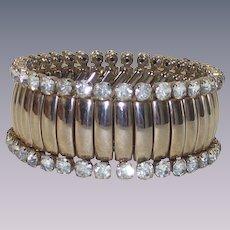 Fabulous Mid Century Signed Rhinestone Expansion Stretch Bracelet