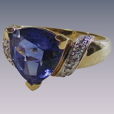 Vintage Gold Wash over Sterling Tanzanite Color CZ with Clears