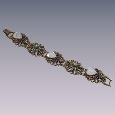Vintage Florenza Link Bracelet with Opalescent Heart Stones