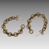 Vintage 14Kt Gold Italian Chain Link Hoop Earrings