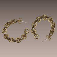 Vintage 14Kt Gold Italian Chain Link Hoop Earrings
