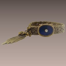 Vintage Tassel Bracelet with Taille Epergne Enamel Clasp