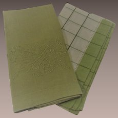 Two Piece Vintage Hand Towels Celery Green with Embroidery