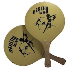 Vintage 1960s Wooden Beach Ball Paddles