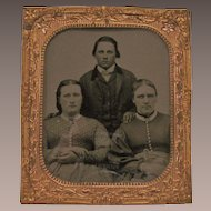 Antique Miniature Ambrotype Copper Frame Two Women, One Man