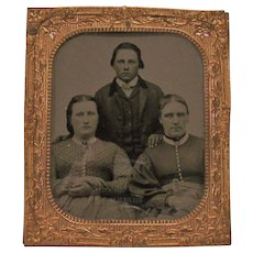 Miniature Ambrotype Copper Frame Two Women and One Man