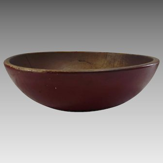 Vintage turned Maple Bowl with Red Paint