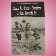 Vintage 1963 Knitting Pattern Book for Barbie Size Dolls
