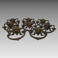 Antique Renaissance Revival Gargoyle Brass Drawer Set of Eight Pulls c1860 Architectural, Hardware