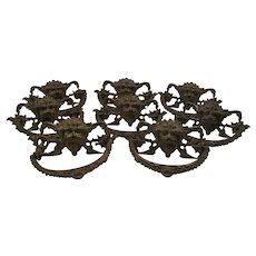 Antique Renaissance Revival Gargoyle Brass Drawer Pulls - Set of Eight  c1860