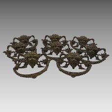 Antique Renaissance Revival Gargoyle Brass Drawer Set of Eight Pulls c1860 Architectural, Hardware