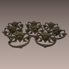 Antique Renaissance Revival Gargoyle Brass Drawer Pulls - Set of Eight  c1860