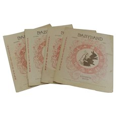 Four Copies-Months- of Baby Land Magazine for Children 1890