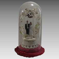 Wedding Cake Topper with Glass Dome 1940s