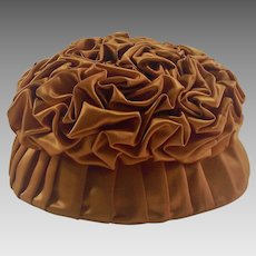 Circa 1930's Handmade Tufted Pumpkin Colored Satin Ladies Hat