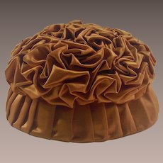 Circa 1930's Handmade Tufted Pumpkin Colored Satin Ladies Hat