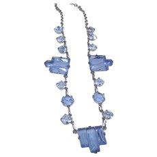 Art Deco Rhodium Choker with Sky Blue Stones