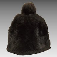 Vintage Black Rabbit Fur Ladies Winter Hat