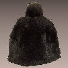 Vintage Black Rabbit Fur Ladies Winter Hat