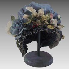 Hand Made Childs Easter Hat with Beautiful Nose Gay Flowers