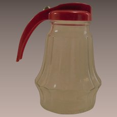 Vintage 1940s Federal Syrup Pitcher Hard Red Plastic Top